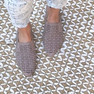 Mauve Perforated Loafer Slip On Flat